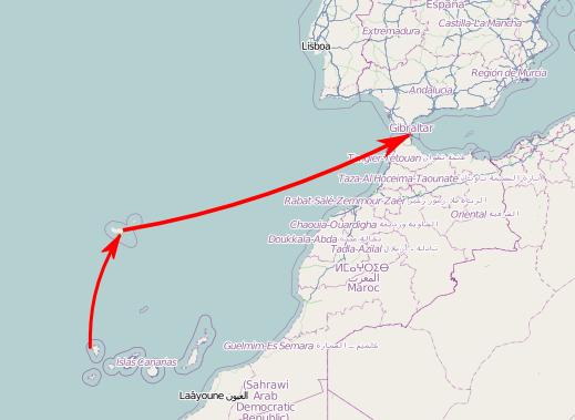 La ruta aproximada de la navegación